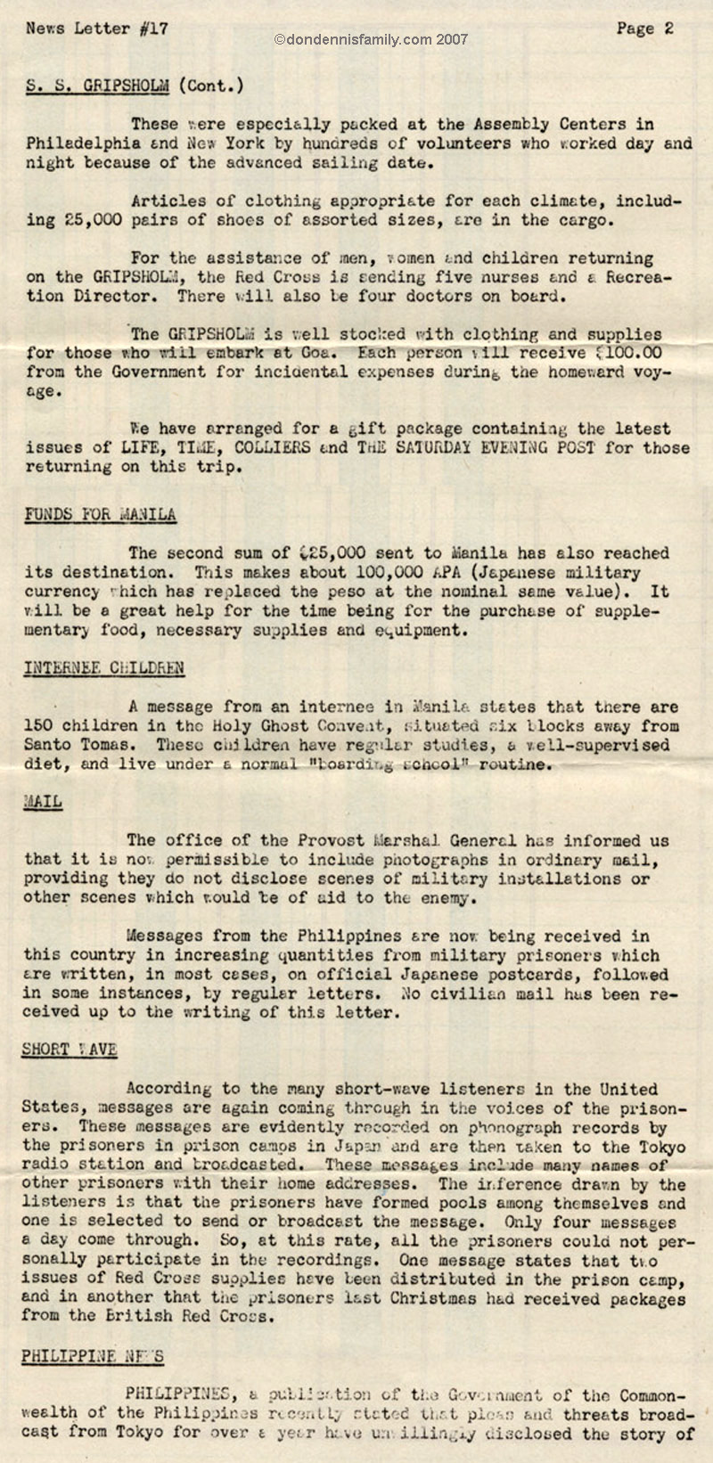 POW Family Letter and Names September 1943